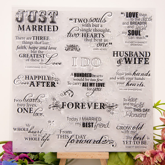 married valentine love forever theme words letter clear stamp