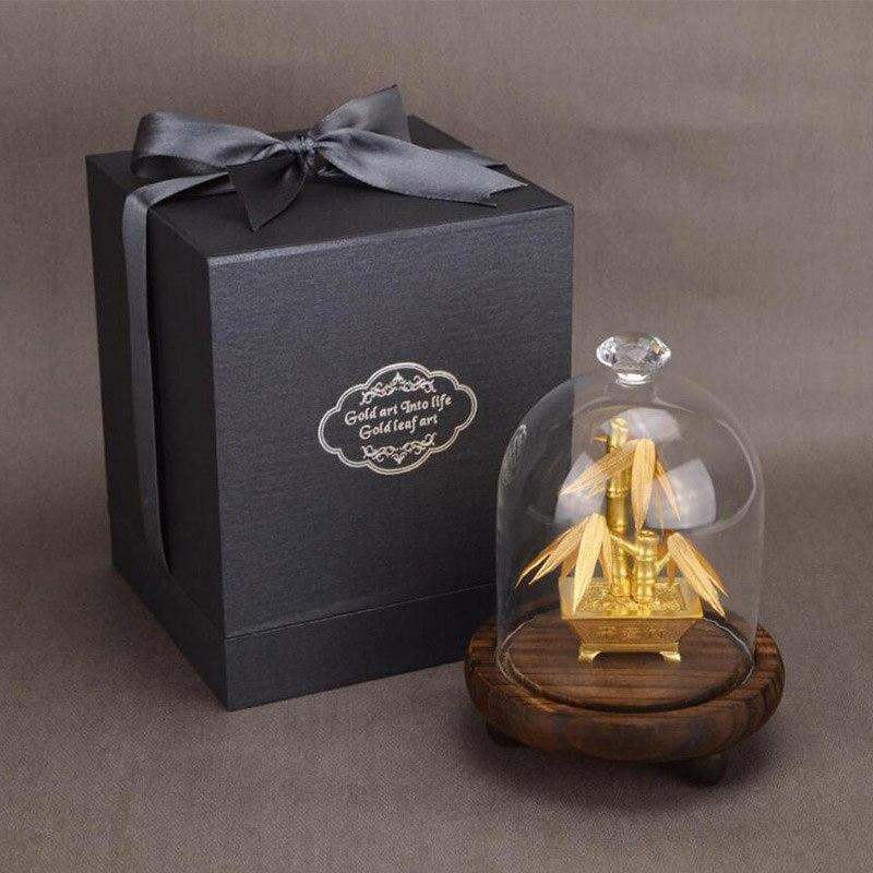 Feng Shui Fortune arbre feuille d'or argent arbre bonsaï bureau table chanceux richesse ornements cadeaux décoration de la maison avec boîte de cadeaux - 6