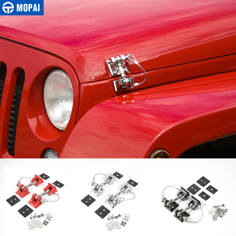 MOPAI Retro Style Car Exterior Lock Hood Latch Catch Decoration Engine Cover Protect for Jeep Wrangler JK 2007-2017 Car Styling mopai new arrival car exterior rear triangle glass decoration cover stickers for jeep compass 2017 up car styling