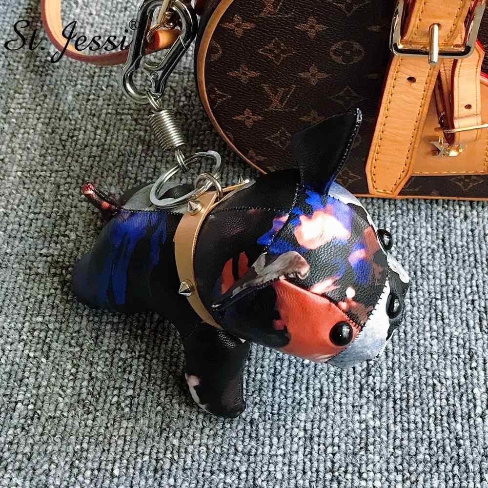 French Bulldog พวงกุญแจ PU หนังสัตว์สุนัขพวงกุญแจกระเป๋า Charm Trinket Chaveiros กระเป๋า Punk สไตล์จี้