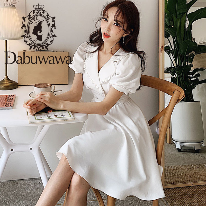 Dabuwawa Women Summer White Dress 2019 New Lantern Sleeve Button A line Dress Elegant Midi Dress