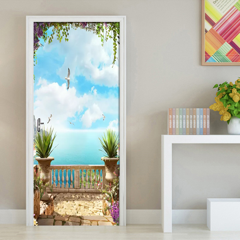 3D Door Sticker European Sea Sky Scenery Mural Wallpaper Home Door Living Room Door Sticker PVC Self-adhesive Vinyl Door Decor