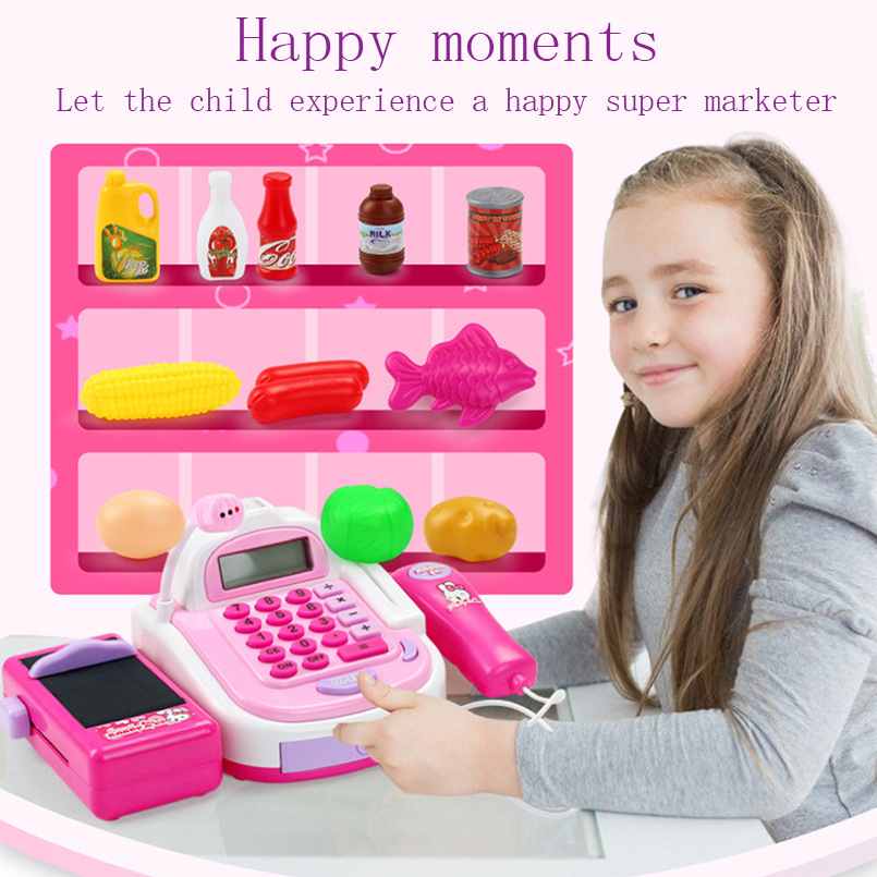 Pretend Play Simulation Electronic Supermarket Cash Register Machine Toys Educational Miniature Furniture Toys For Girl Gifts Lahore