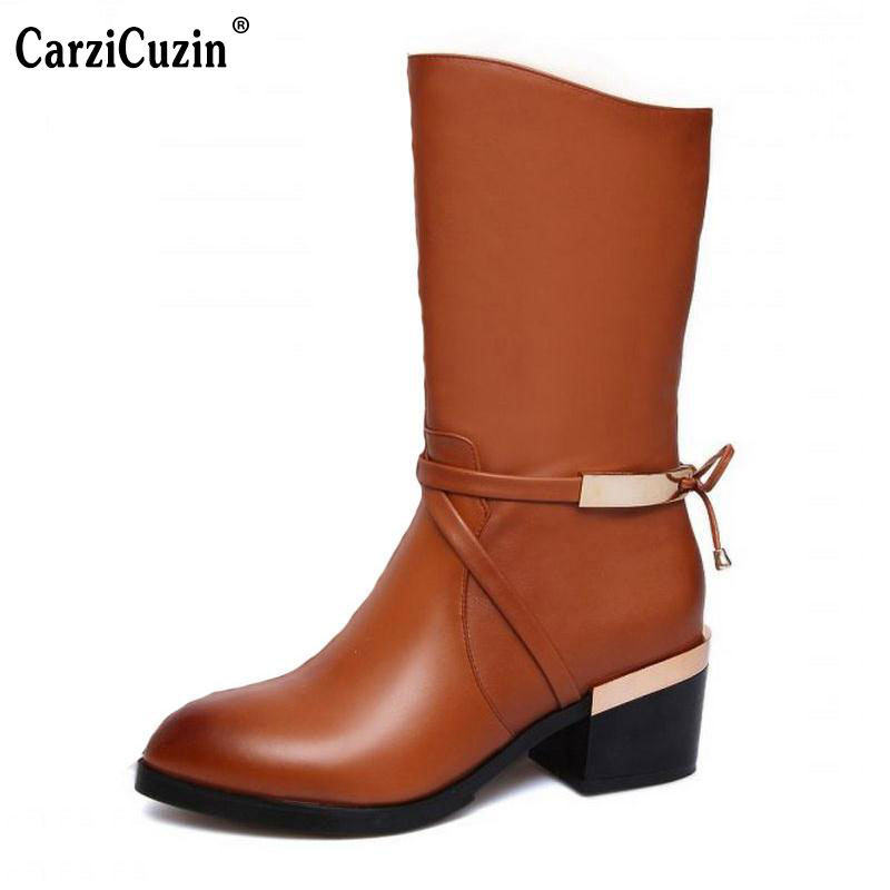 size 33-44 women real genuine leather high heel mid calf boots half short boot snow warm botas brand heels footwear shoes R8036 spring autumn women thick high heel mid calf boots platform woman short boots high heels shoes botas plus size 34 40 41 42 43