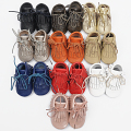 100% Genuine Leather Baby Moccasins hand-made lace-up suede Baby Shoes tassel First Walker Chaussure Bebe newborn shoes