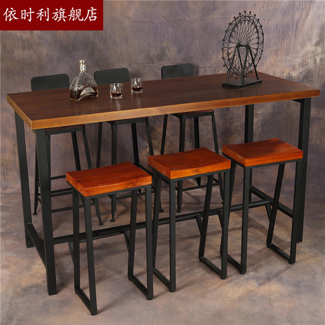 Customized Industrial Style Table High Bar Tables Bar Tables Starbucks LOFT  American Iron Retro Cafe Bar