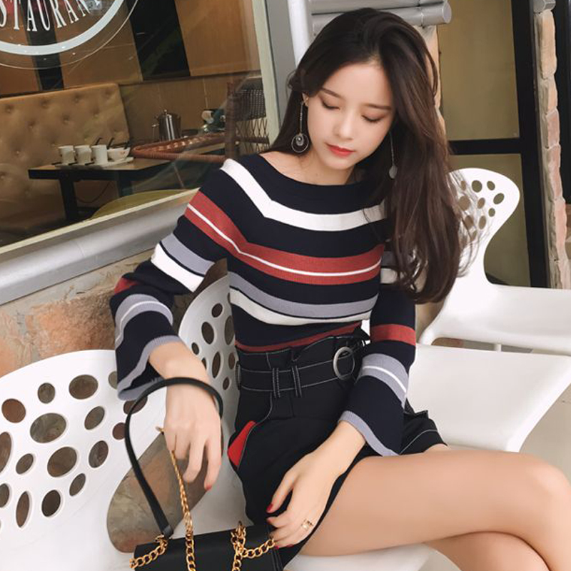 Mishow Slim Rainbow Stripes Sweater Jumper Knitwear 2019 Spring O-neck Flare Fleeves Pulovers Standard Female Top MX17C5112