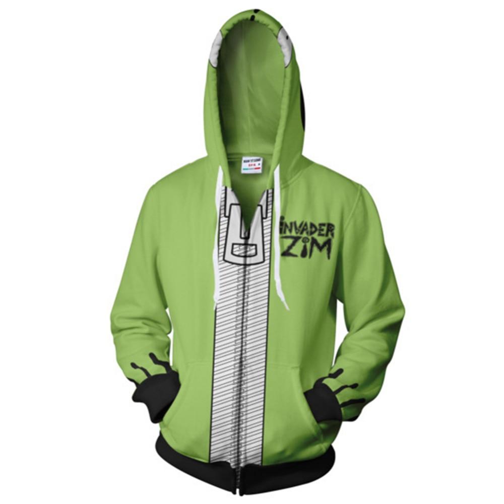 Invader Zim GIR in His Dog Disguise Doom Hoodie Costume Zip Up Jacket Sweatshirt