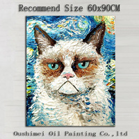 Handmade Modern Cat Animal Painting on Canvas Van Gogh Starry Sky Cat Oil Painting For Room Decor Garfield Wall Oil Painting