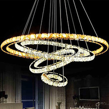 New 4 Ring Remote Control One Light Two Style Hall Hotel LED Crystal Pendant Lights Stainless Steel Free Shipping