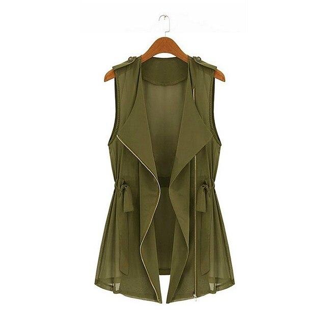 Плюс Размер Женщины Топы 5xl Причинно Молния Жилет Army Green жилет Без Рукавов Женщины Моды Жилет Верхней Одежды Льняные Жилеты Для Женщин 2016