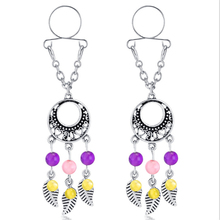 Fashion Hot Sale Sexy Non Pierced Nipple Piercing Rings Leaves Tassel Clip On Fake Nipple Ring Body Jewelrys Christmas Gifts