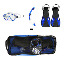 db18ebd7dd Snorkeling Goggles Combo Set Anti-fog Goggles Mask Snorkel Tube Fins with Gear  Bag for Men Women Swimming Scuba Diving Travel
