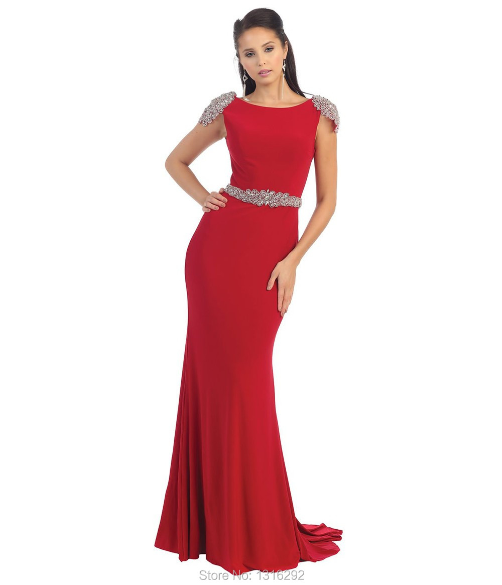 828617905a8 Tarik Ediz Beaded Cap Sleeves Long Red Chiffon Mermaid Evening Dress 2015  Formal Gowns Elegant Prom Party Dresses-in Evening Dresses from Weddings    Events ...