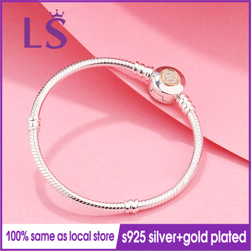 LSLuxury 100% 925 Sterling Silver&14.K G.old Plated Signature Clasp Clear CZ Bracelets for Women Fit Original Beads Charm W