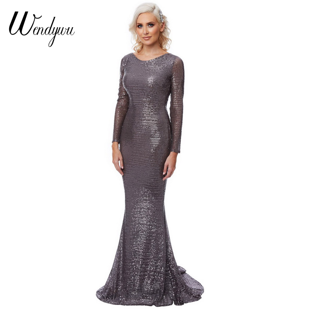 Wendywu New 2018 Spring Women Sexy Backless Long Sleeve Solid Sequined Prom Mermaid Long Dress