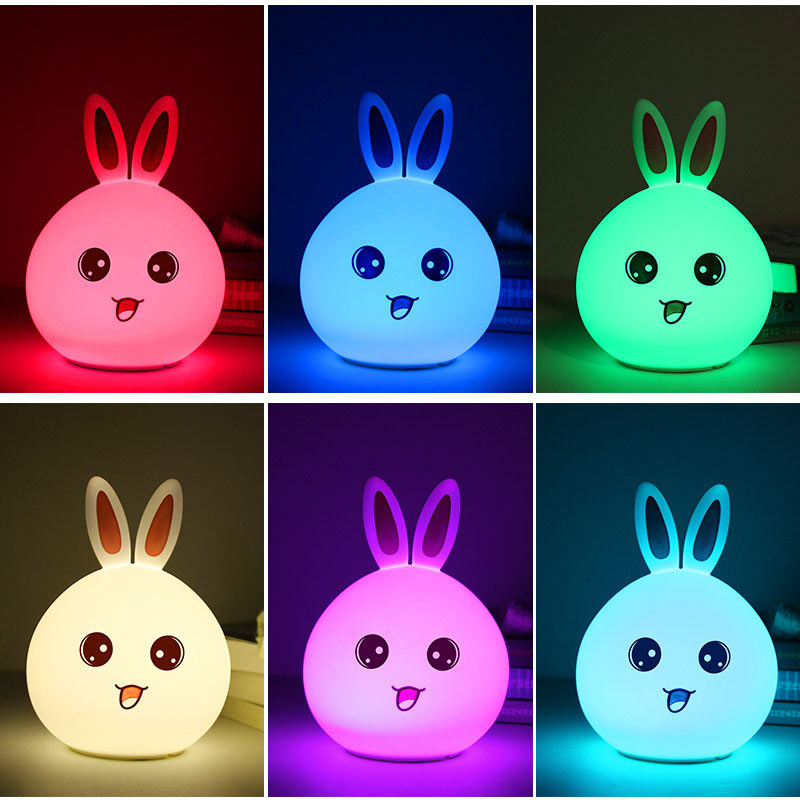 Cute Rabbit LED Night Light Baby Kids Bedroom Lamp Multicolor USB Rechargeable Tap Sensor Control Nightlight CLH@8 7 color changing rabbit led night light silicone touch sensor tap control nightlight remote controller for kids children baby
