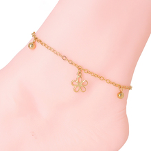 Hot Sale Gold Color Acrylic Chain Beach Foot Ankle Jewelry Vintage Beauty Flower Anklets For Women