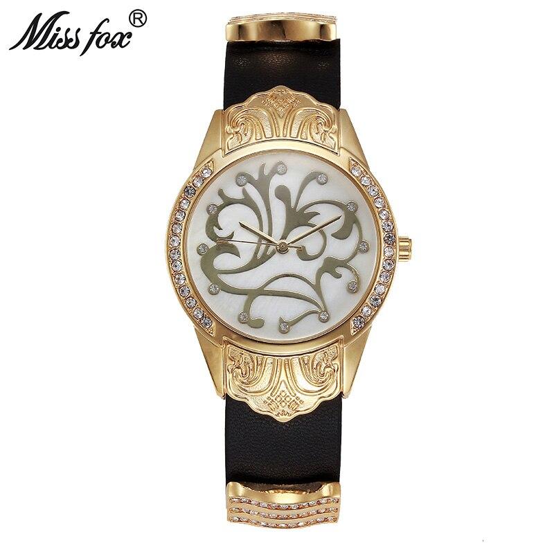 Miss Fox Gold Watch Women Dress Flower Article Montre Homme Marque De Luxe Stainless Steel Back Water Resistant Relogio Feminino