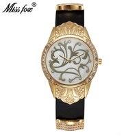 Miss Fox Gold Watch Women Dress Flower Article Montre Homme Marque De Luxe Stainless Steel Back