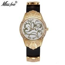 La señorita Fox Oro Reloj de Las Mujeres Vestido de Flores Artículo Montre Homme Relogio Feminino Marca De Lujo de Acero Inoxidable de Nuevo