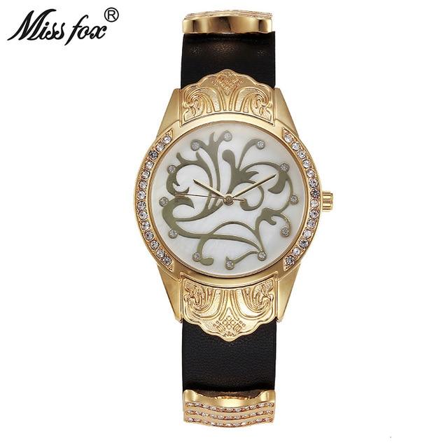 7ec8436c6c9 Senhorita Fox Relógio de Ouro As Mulheres Se Vestem Flor Artigo Montre  Homme Relogio feminino Marca