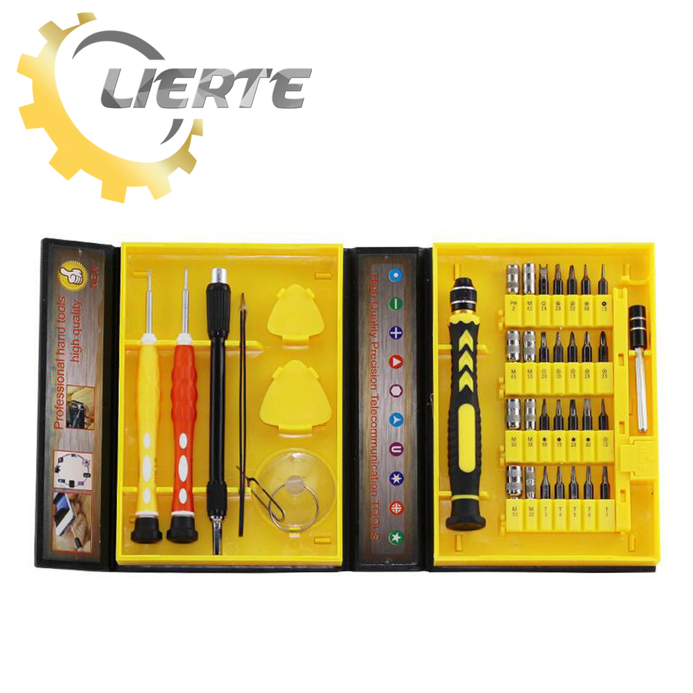 Lierte 38 In 1 Screwdriver Set Precision Repair Tools Kit S2 Alloy Steel Material Tool For Cell Phone iPhone  Notebook Laptop