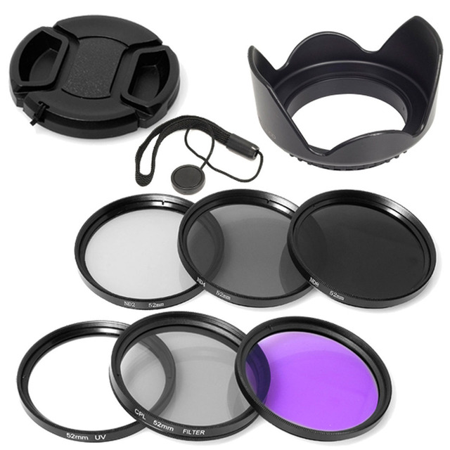 100% GUARANTEE 52mm UV CPL FLD ND2 4 8 Filter + Lens Hood +cap for Nikon D7000 D5100  D5000 D3200 D3100 D80