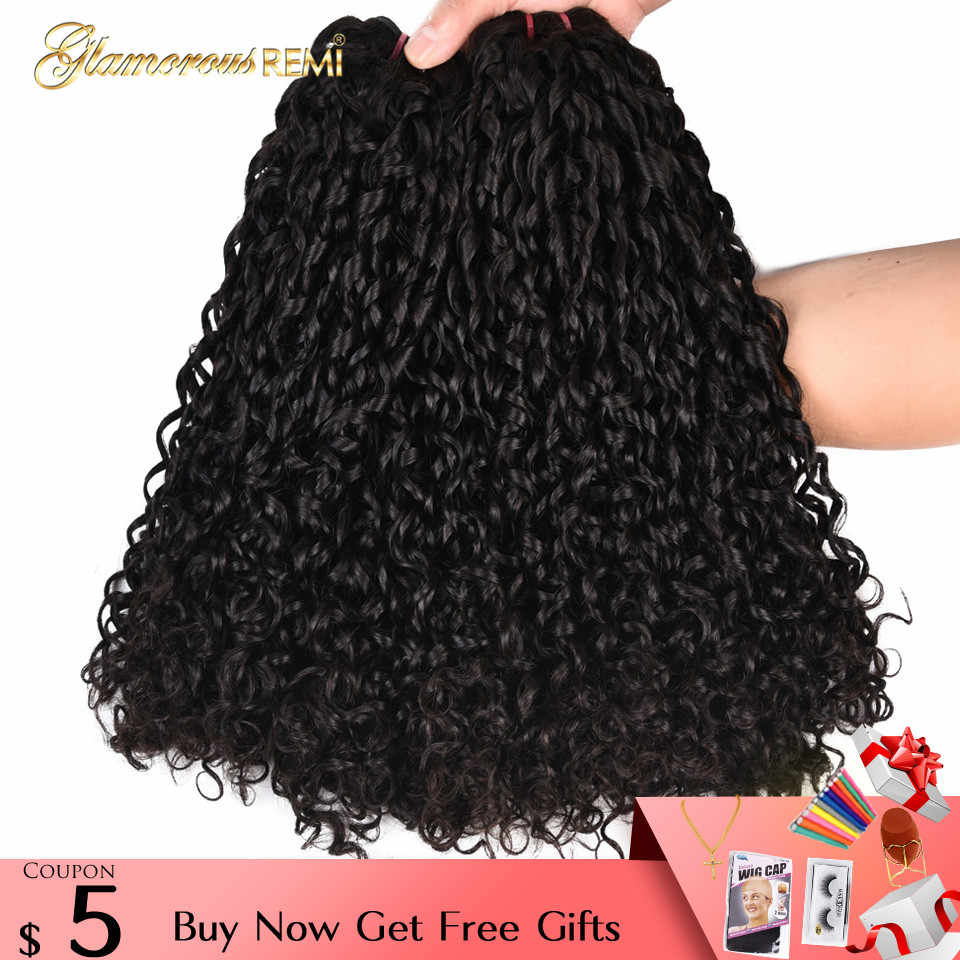 Double Drawn Human Hair Weft Flexi Rod Curls Funmi Remy Hair Bundles 1 3 4 PCS  Afro Kinky Curly Hair Weave Pixie Curl Nigeria