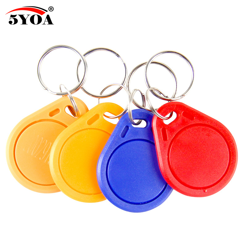 US $1 79 10% OFF|10pcs 13 56MHz IC M1 S50 Keyfobs Tags Access Control RFID  Key Finder Card Token Attendance Management Keychain ABS Waterproof-in