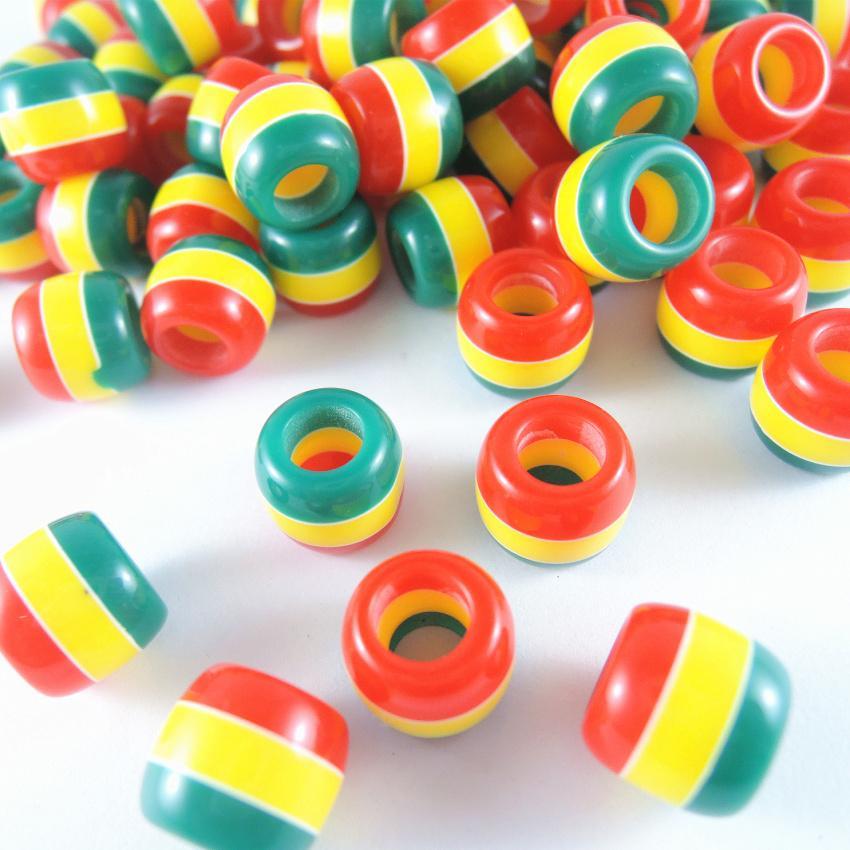 100 Rainbow Stripe Beads Round Red Yellow Blue Green 8mm