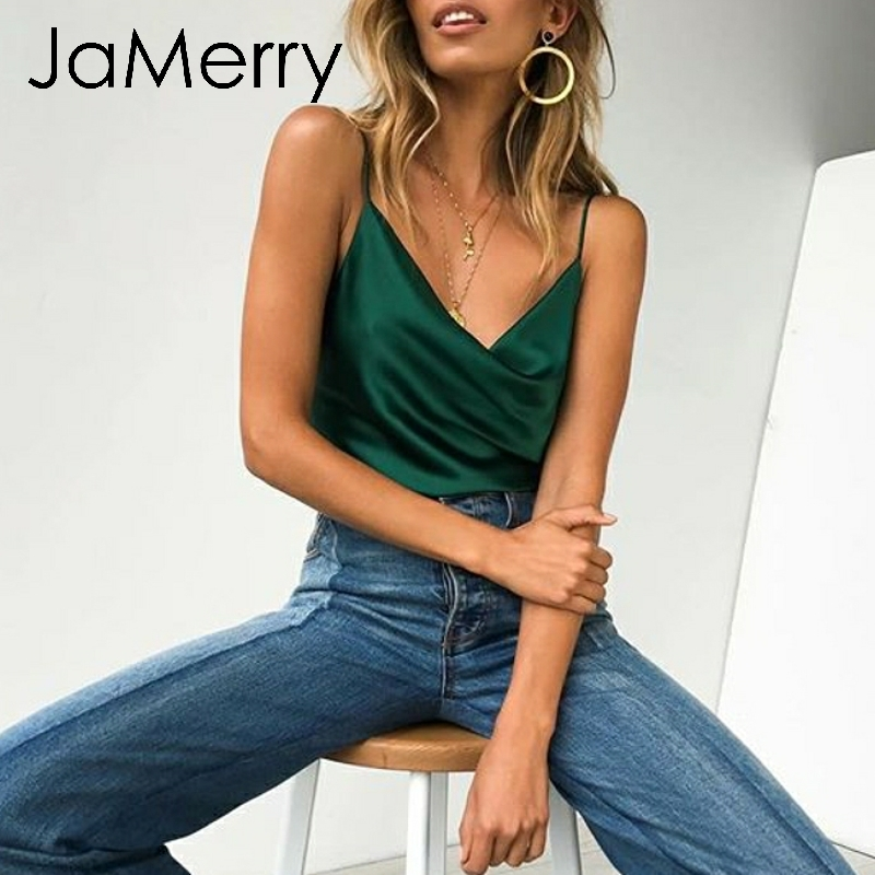JaMerry Sexy satin sling camis   top   women Strapless solid summer sleeveless crop cami   tanks     top   vest skinny slim camisas feminina