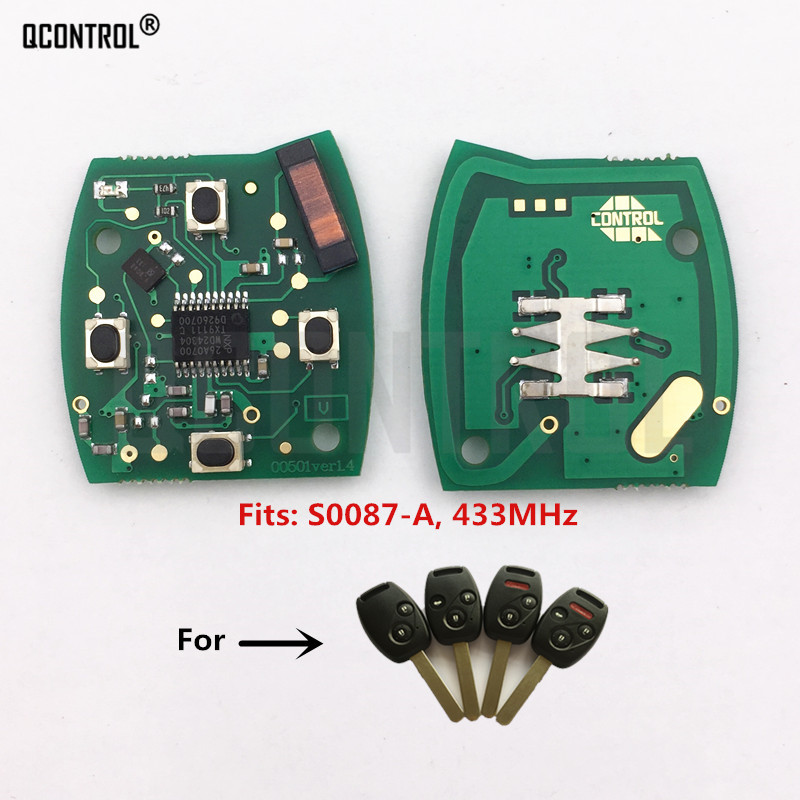 QCONTROL Car <font><b>Remote</b></font> Key Circuit Board for <font><b>Honda</b></font> S0087-A Accord Element Pilot Civic CR-V HR-V Fit Insight City Jazz Odyssey image