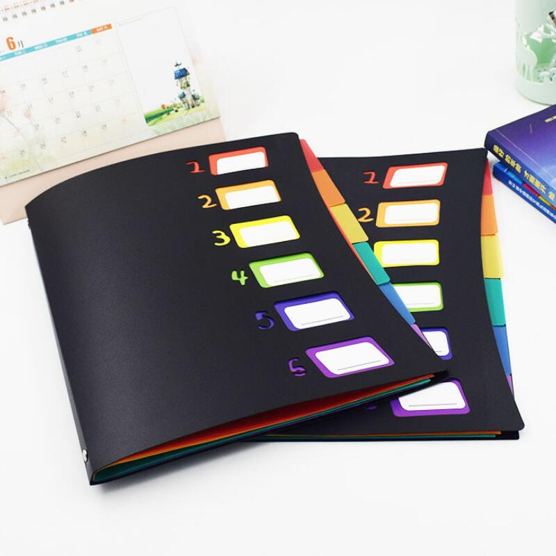 New Listing Multicolor 6 Into Multi-Page Classification Folder A4 PP File Holder Storage Bag Portfolio Office Learn Good Helper