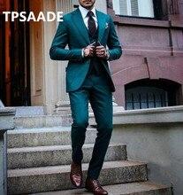TPSAADE أزياء الرجال 3 قطعة دعوى العريس البدلات الرسمية بدلة الزفاف الرسمي بدلة عمل مخصص زائد حجم السترة (سترة + السراويل + التعادل)