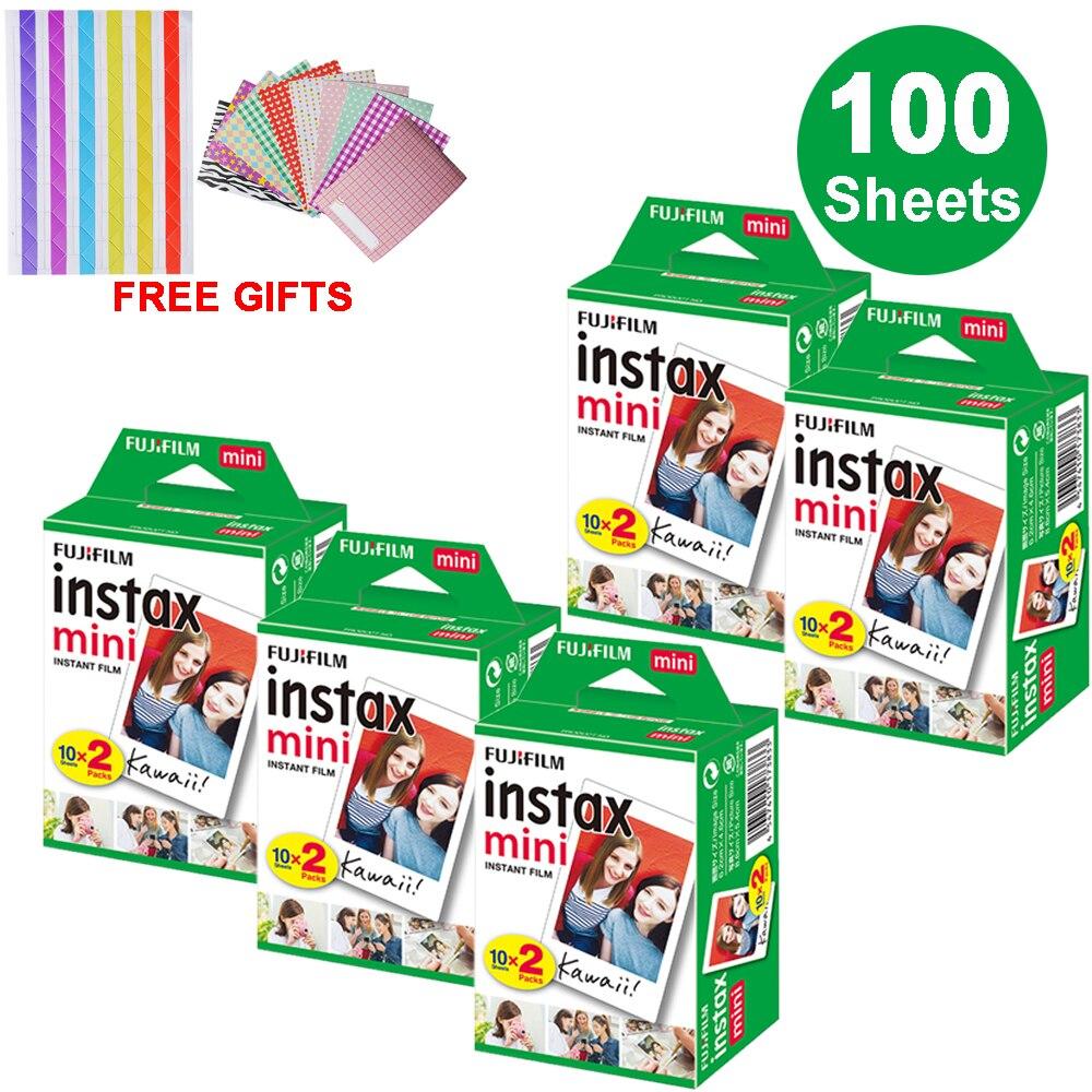 100 feuilles Fujifilm Instax Mini Film de bord blanc papier Photo instantané pour Instax Mini 8 9 7 s 9 70 25 50 s 90 SP-1 2 cadeaux pour appareil Photo