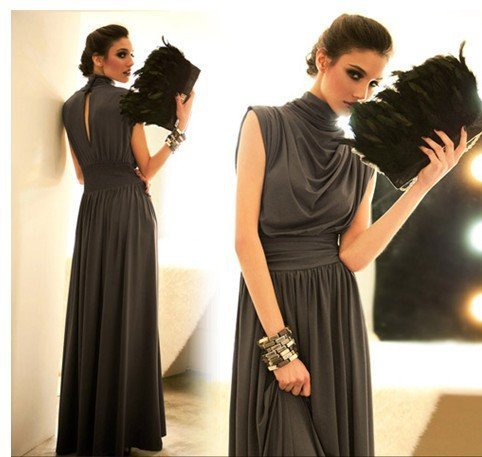 Romantic High QualityNoble Gorgeous Wrap Over Stand High Collar Pleated Waist Cotton Evening Maxi Dress Black/Red/Grey