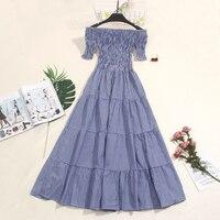 2018 Summer New dress female slash neck elegant pleated dresses women vestidos