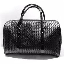 Heißer Verkauf Große Kapazität Mode Geflochtenem Leder Gepäck Handtasche Schwarz herren Travel Umhängetasche Männer frauen Weben Reise tasche