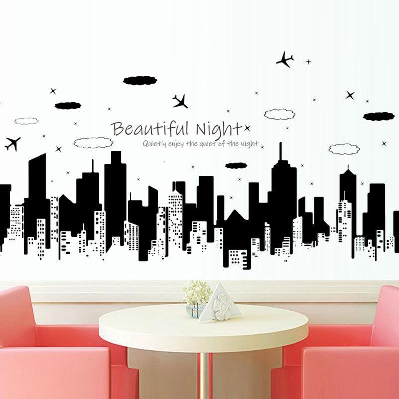 Starry Night City Beautiful Noite Adesivo de Parede criativo Moderno casa decoração Mural sofá da sala de Arte papel de parede adesivos