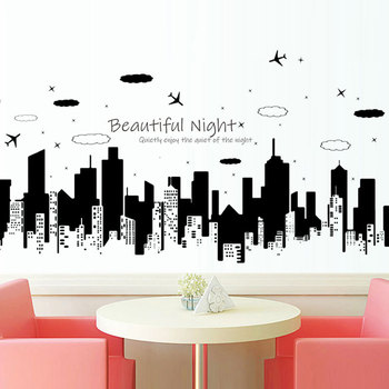 Starry Night City Beautiful Night Wall Sticker Modern creative home decoration Mural Living room sofa Art wallpaper stickers