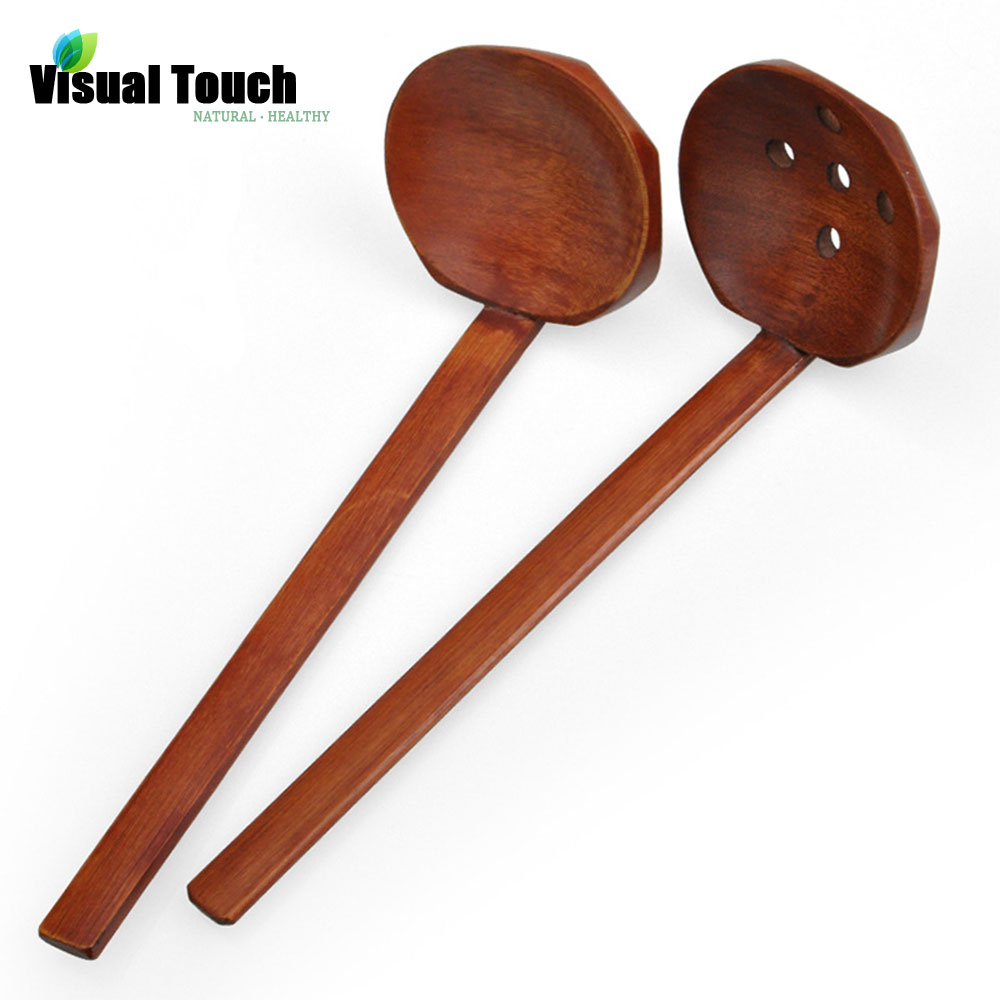 Visual Touch Multi-Use Nature Solid Wood Ladle Serve Set Pierced Table Spoon Hot Pot Ramen Soup Buffet Slotted Spoon