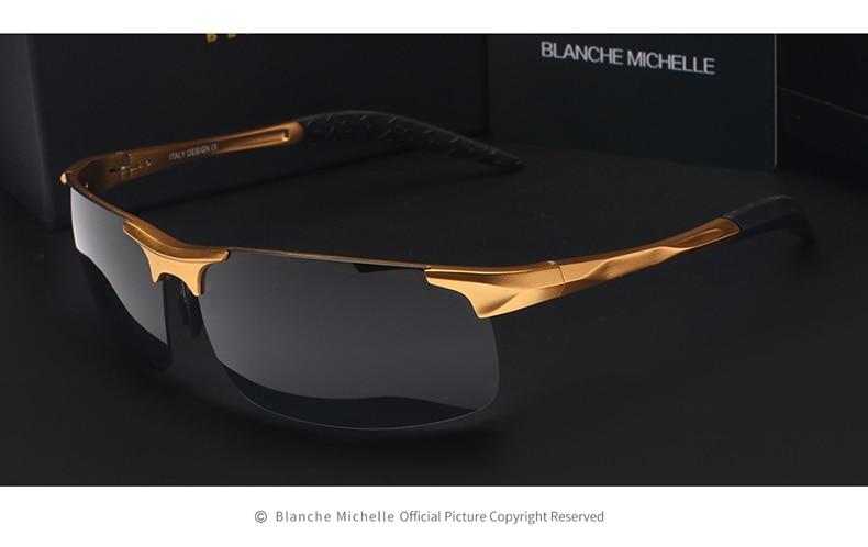 High Quality Ultra-light Aluminum Magnesium Sport Sunglasses Polarized Men UV400 Rectangle Gold Outdoor Driving Sun Glasses 10