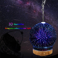 Spherical Shape Star Style Cool Mist Humidifier Color Changing 100ML 110 240V 3D Glass Aromatherapy Diffuser
