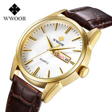 WWOOR Mans Reloj Fecha Hora Reloj de Cuarzo Manera y Ocasional Reloj de Pulsera Correa de Cuero Impermeable Puntero De Oro Dial Relogio masculino