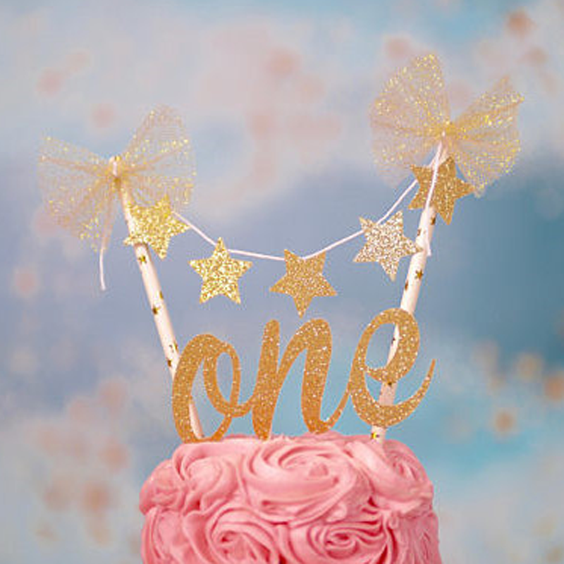 1 Pcs Novelty new Baby 1st Birthday Cake Topper gold One Letter Stars Cake Toppers Baby Shower straw Smash Cake Decorations