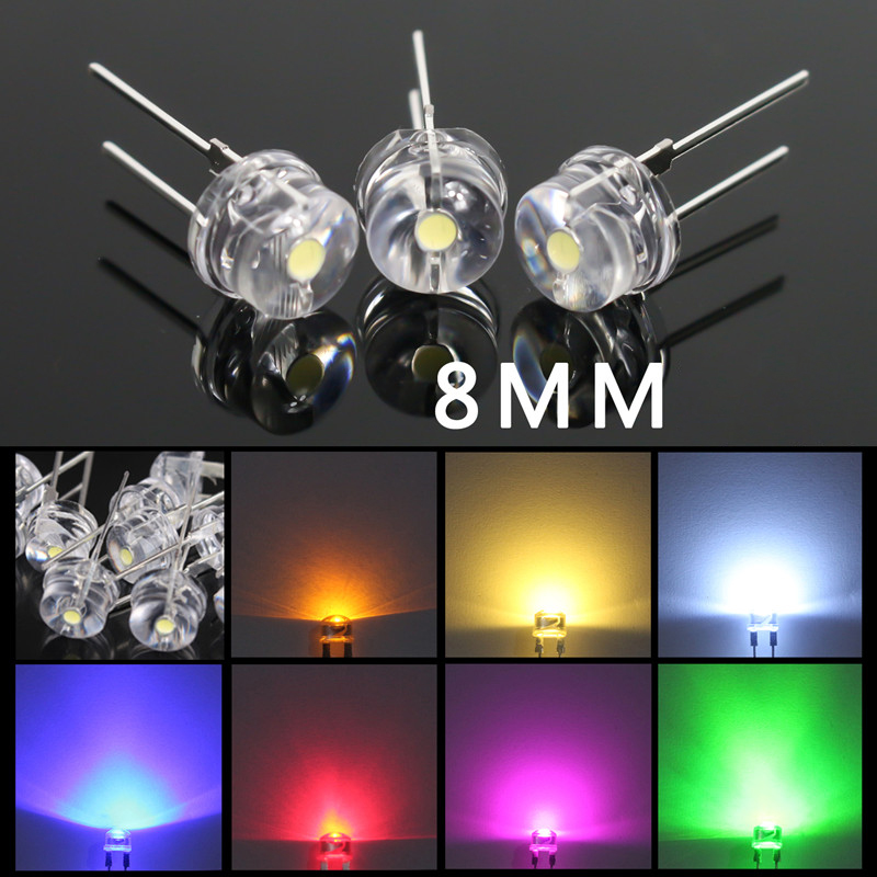 8mm LED Emitting Light Diode 100pcs/lot Flashlight Round Lamp F8 Ultra Bright Red Green Blue White Yellow LED Diodes Hot Sale M4