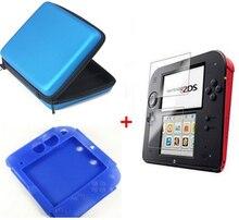 Blauw Siliconen case + Beschermen Clear Touch Film Screen Guard + Blauw EVA Protector Hard Travel Carry Case bag voor nintendo 2DS