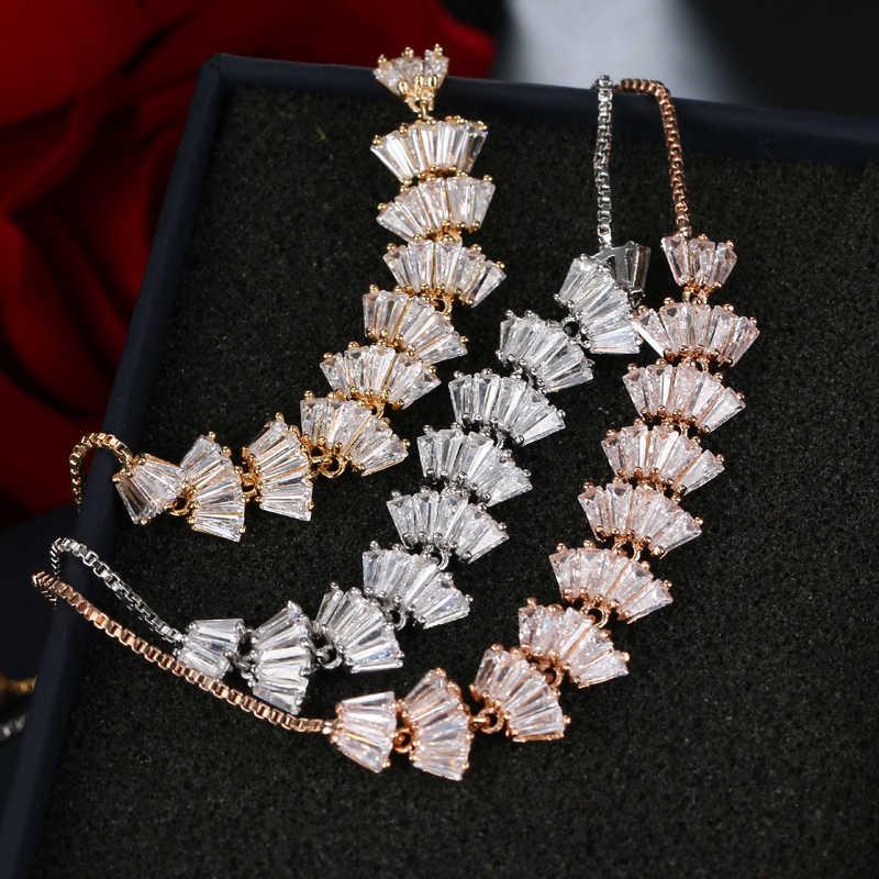 EMMAYA הגדרת חודים מעוקב Zirconia קריסטל CZ זירקון רוז זהב צבע צמידי מתכוונן תכשיטי חתונת נשים