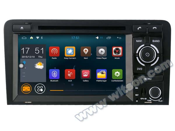 car Autoradio 7 Quad Core Android 5.1.1 OS Special Car DVD for Audi A3/S3/RS3 2003-2012 with External DAB+ Receiver Box Support